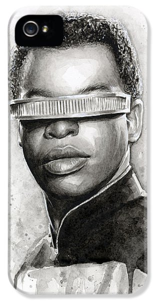 Sci Fi Art iPhone 5 Cases - Geordi La Forge - Star Trek Art iPhone 5 Case by Olga Shvartsur