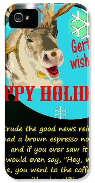 Hanukkah Card iPhone 5 Cases - Gertrude the Good News Reindeer iPhone 5 Case by Alpha Pup