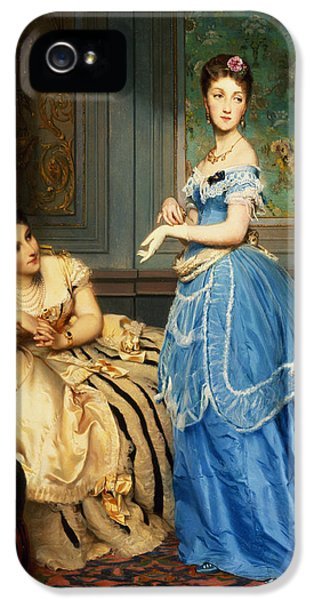 Glove iPhone 5 Cases - Getting Dressed, 1869 iPhone 5 Case by Charles Edouard Boutibonne