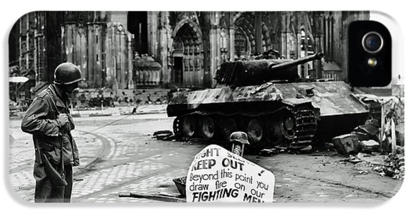 Gi iPhone 5 Cases - GI Warning Sign in Cologne during World War II iPhone 5 Case by Mountain Dreams