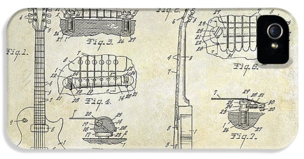 Gibson Les Paul Patent Drawing IPhone 5 / 5s Case by Jon Neidert