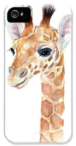 Zoo iPhone 5 Cases - Giraffe Watercolor iPhone 5 Case by Olga Shvartsur