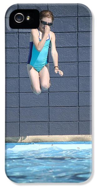 Children Only iPhone 5 Cases - Girl Jumps Into The Pool iPhone 5 Case by Kelly Redinger