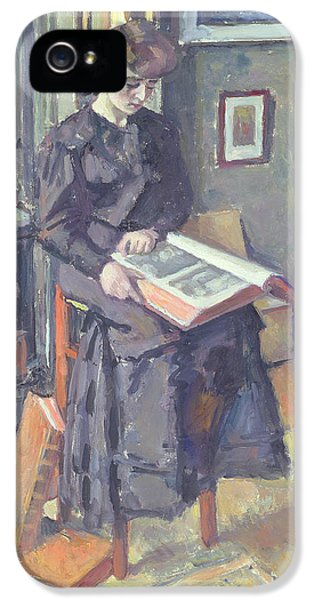 Stools iPhone 5 Cases - Girl Reading a Book iPhone 5 Case by Charles Francois Prosper Guerin