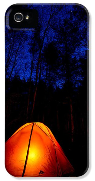 Camping iPhone 5 Cases - Glowing Tent iPhone 5 Case by Cale Best