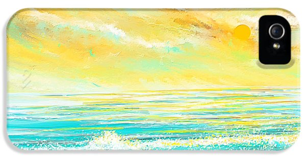 Turquoise iPhone 5 Cases - Glowing Waves - Seascapes Sunset Abstract iPhone 5 Case by Lourry Legarde