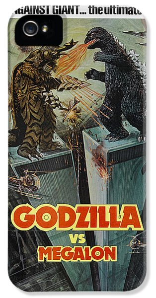 Trailer iPhone 5 Cases - Godzilla vs Megalon Poster iPhone 5 Case by Gianfranco Weiss