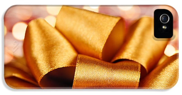 Wrapped iPhone 5 Cases - Gold gift bow with festive lights iPhone 5 Case by Elena Elisseeva