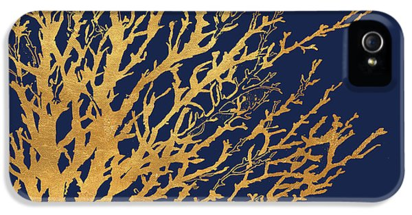 Gold Medley On Navy IPhone 5 / 5s Case by Lanie Loreth