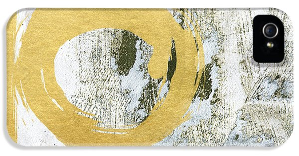 Round iPhone 5 Cases - Gold Rush - Abstract Art iPhone 5 Case by Linda Woods