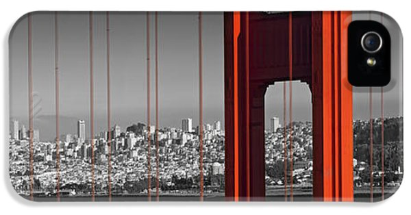 Harbour iPhone 5 Cases - Golden Gate Bridge Panoramic Downtown View iPhone 5 Case by Melanie Viola