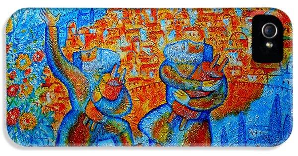 Jewish iPhone 5 Cases - Golden Jerusalem iPhone 5 Case by Leon Zernitsky
