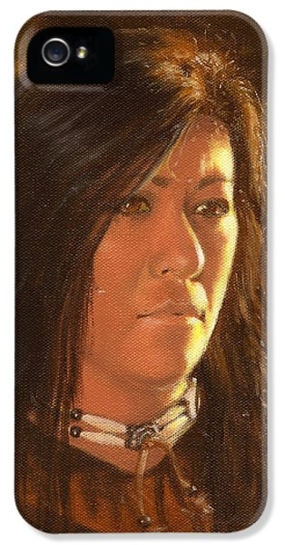 Native American Woman iPhone 5 Cases - Golden Light iPhone 5 Case by James Loveless