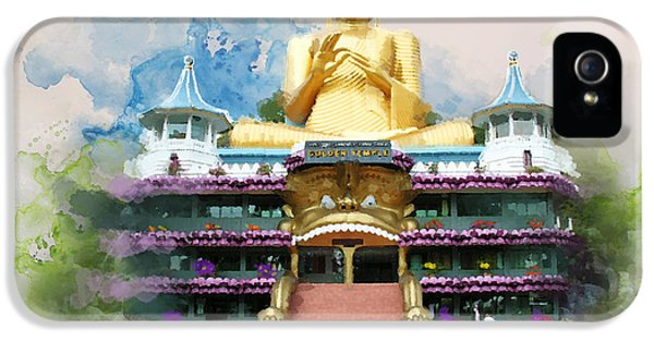 Color Effect iPhone 5 Cases - Golden temple of Dambulla iPhone 5 Case by Catf