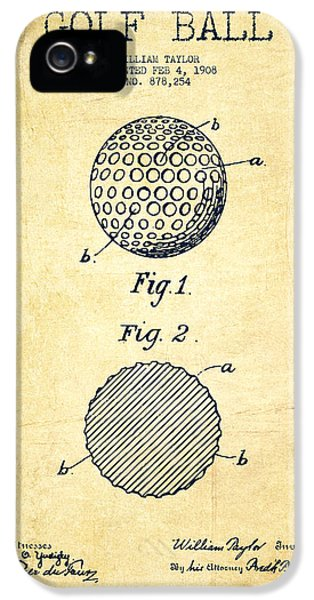 Diagram iPhone 5 Cases - Golf Ball Patent Drawing From 1908 - Vintage iPhone 5 Case by Aged Pixel