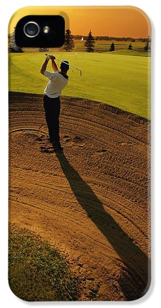 Golfer Taking A Swing From A Golf Bunker IPhone 5 / 5s Case by Darren Greenwood