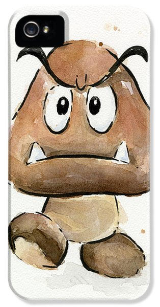 Video Game Art iPhone 5 Cases - Goomba Watercolor iPhone 5 Case by Olga Shvartsur