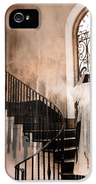Grim Reaper iPhone 5 Cases - Gothic Surreal Spooky Grim Reaper On Steps iPhone 5 Case by Kathy Fornal