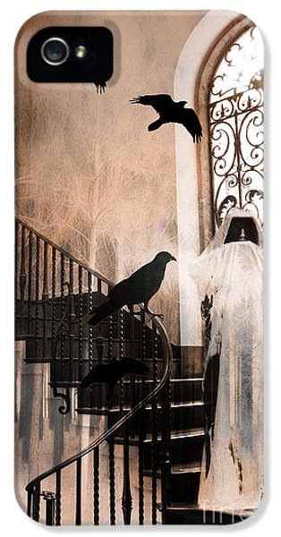 Grim Reaper iPhone 5 Cases - Gothic Grim Reaper With Ravens Crows - Spooky Haunting Surreal Gothic Art iPhone 5 Case by Kathy Fornal