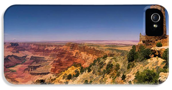 Pueblo iPhone 5 Cases - Grand Canyon Desert View Watchtower Panorama iPhone 5 Case by Christopher Arndt