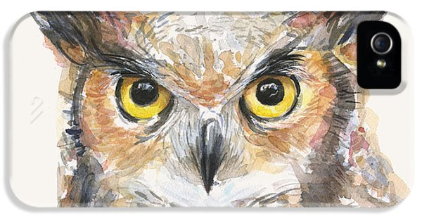 Owl iPhone 5 Cases - Great Horned Owl Watercolor iPhone 5 Case by Olga Shvartsur