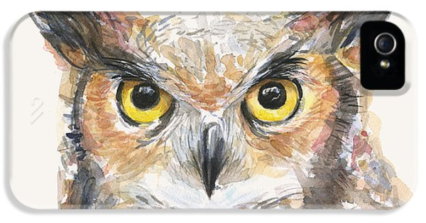 Horn iPhone 5 Cases - Great Horned Owl Watercolor iPhone 5 Case by Olga Shvartsur