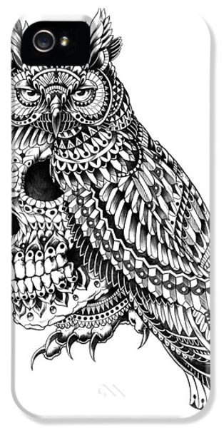 Wise iPhone 5 Cases - Great Horned Skull iPhone 5 Case by BioWorkZ