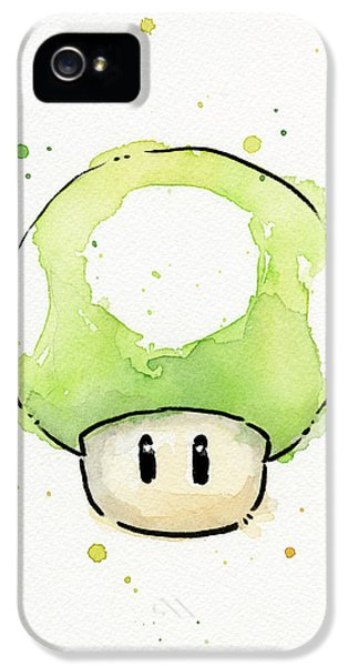 Video Game Art iPhone 5 Cases - Green 1UP Mushroom iPhone 5 Case by Olga Shvartsur