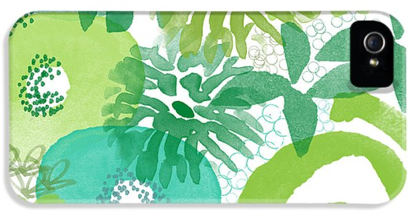 Swirls iPhone 5 Cases - Green Garden- Abstract Watercolor Painting iPhone 5 Case by Linda Woods