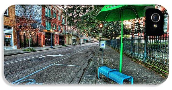 Micdesigns iPhone 5 Cases - Green Umbrella Bus Stop iPhone 5 Case by Michael Thomas