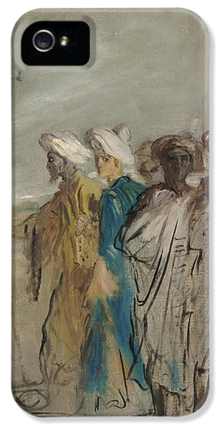 Arab iPhone 5 Cases - Group Of Arabs Or, Joseph Sold By His Brothers Oil On Canvas iPhone 5 Case by Theodore Chasseriau
