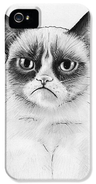 Grumpy Cat Portrait IPhone 5 / 5s Case by Olga Shvartsur