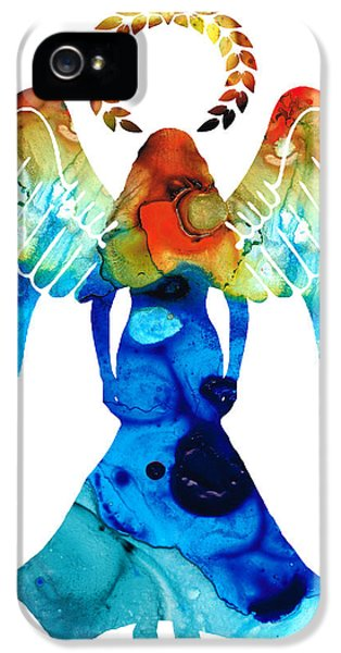 Protection iPhone 5 Cases - Guardian Angel - Spiritual Art Painting iPhone 5 Case by Sharon Cummings
