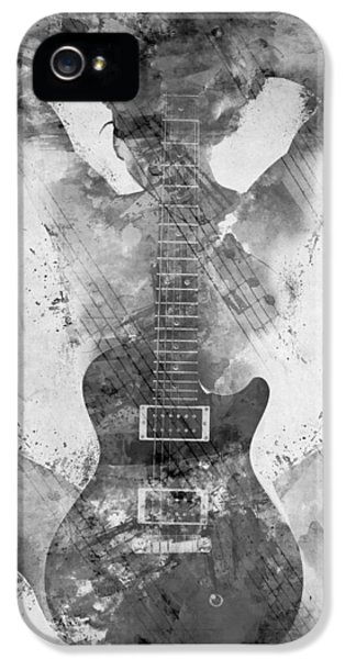 Music iPhone 5 Cases - Guitar Siren in Black and White iPhone 5 Case by Nikki Smith