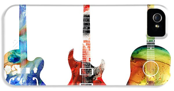 Rock And Roll iPhone 5 Cases - Guitar Threesome - Colorful Guitars By Sharon Cummings iPhone 5 Case by Sharon Cummings