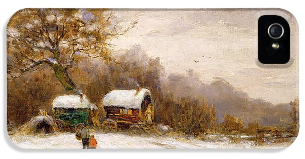 Roaming iPhone 5 Cases - Gypsy Caravans in the Snow iPhone 5 Case by Leila K Williamson