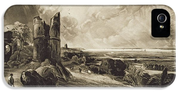Ruins iPhone 5 Cases - Hadleigh Castle, Engraved By David Lucas 1802-81 C.1832 Mezzotint With Etching iPhone 5 Case by John Constable