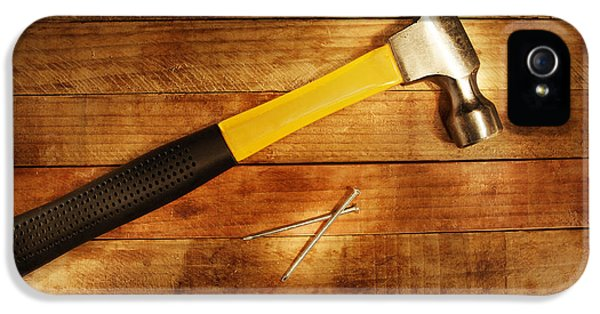 Work Tool iPhone 5 Cases - Hammer and nails iPhone 5 Case by Les Cunliffe