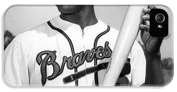 National League iPhone 5 Cases - Hank Aaron Poster iPhone 5 Case by Gianfranco Weiss