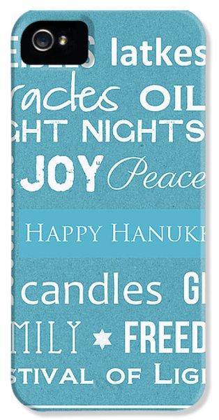 Dreidel Card iPhone 5 Cases - Hanukkah Words -Greeting Card iPhone 5 Case by Linda Woods