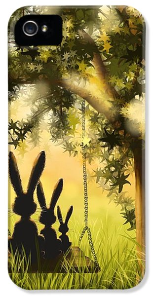 Bunny iPhone 5 Cases - Happily together iPhone 5 Case by Veronica Minozzi