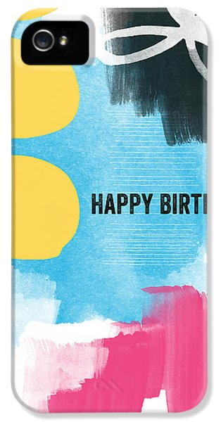 Greeting iPhone 5 Cases - Happy Birthday- Colorful Abstract Greeting Card iPhone 5 Case by Linda Woods