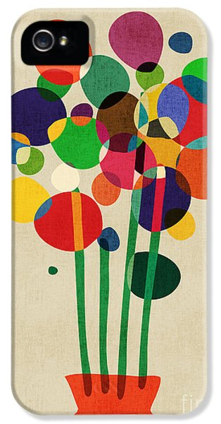 Geometric iPhone 5 Cases - Happy Flowers in The Vase iPhone 5 Case by Budi Kwan