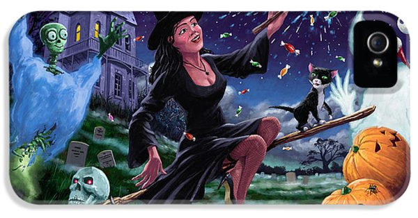 Witch On Broomstick iPhone 5 Cases - Happy Halloween Witch with graveyard friends iPhone 5 Case by Martin Davey