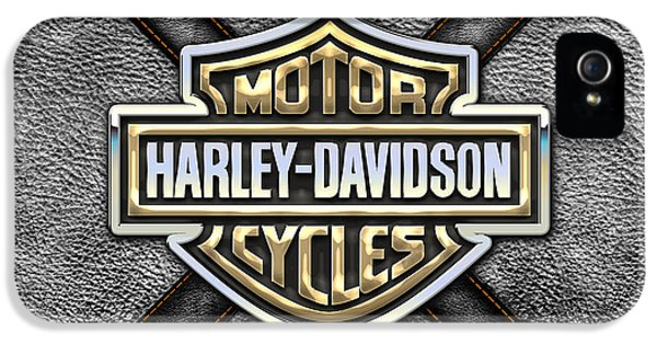 Glory iPhone 5 Cases - Harley-Davidson 3D Badge-Logo in Gold on Black Leather iPhone 5 Case by Serge Averbukh