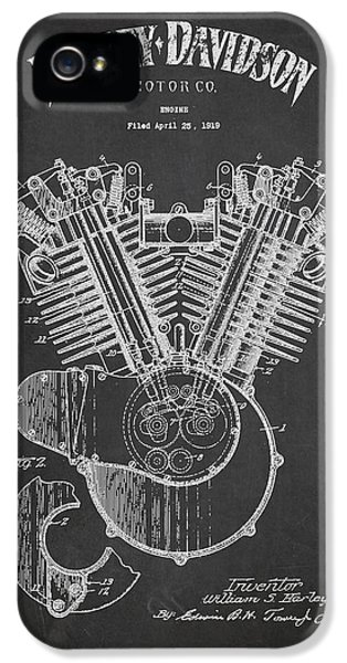 Diagram iPhone 5 Cases - Harley Davidson Engine Patent Drawing From 1919 - Dark iPhone 5 Case by Aged Pixel