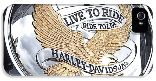 Men In Black iPhone 5 Cases - Harley Golden Eagle Emblem iPhone 5 Case by Gill Billington