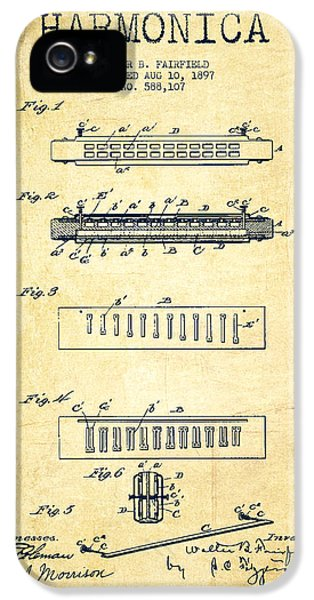Organ iPhone 5 Cases - Harmonica Patent Drawing from 1897 - Vintage iPhone 5 Case by Aged Pixel