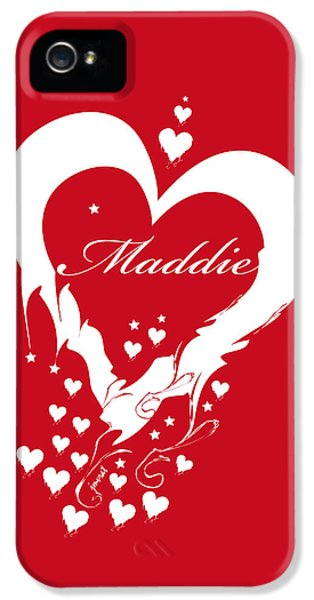 Maddie iPhone 5 Cases - Heart Maddie red iPhone 5 Case by Johannes Murat