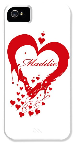 Maddie iPhone 5 Cases - Heart Maddie white iPhone 5 Case by Johannes Murat